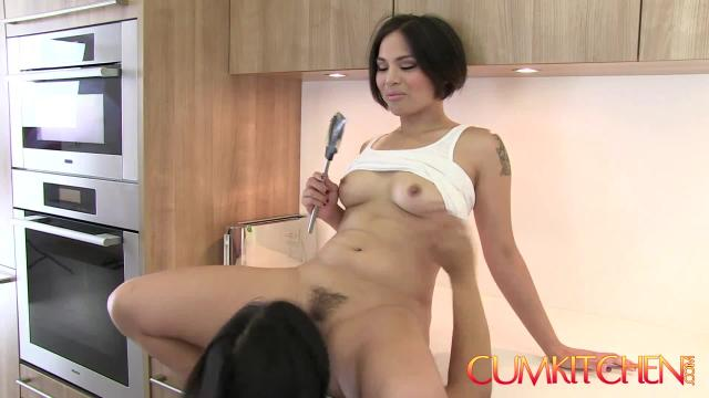 Cum kitchenhairy asian lesbians mia li & milcah make cookies and eat pussy